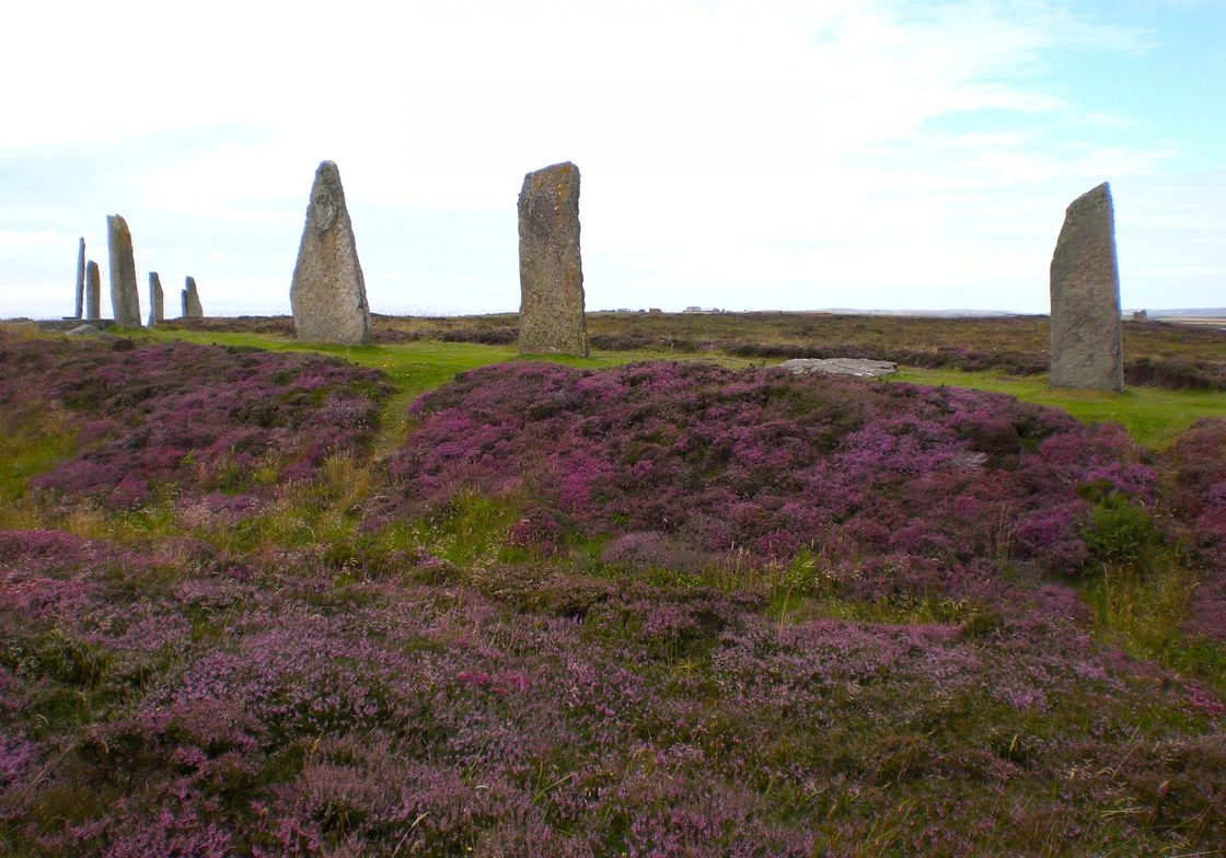 The Ring of Brodgar, is 341 ft. in diameter, is the third largest stone circle in the British Isles.