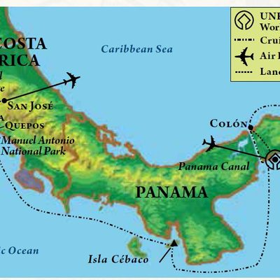 Map of itinerary, Panama Canal & Costa Rica
