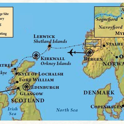 Map of itinerary for Scottish Isles & Norwegian Fjords