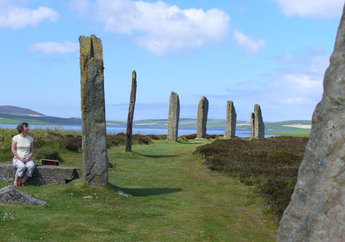The Ring of Brodgar and the Loch of Stenness, Scotland.