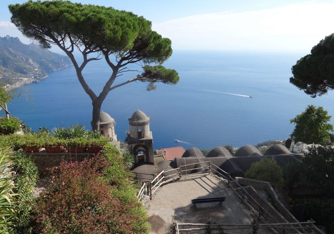 The Villa Rufolo with its gardens overlooking the sea on the Amalfi Coast.