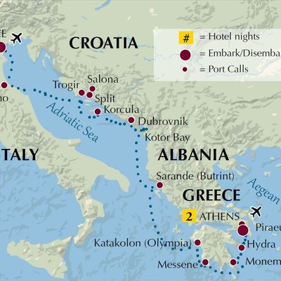 Venice to Athens 9-19 Itinerary map