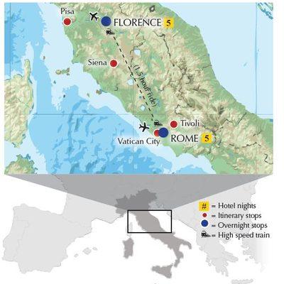 Rome & Tuscany itinerary map