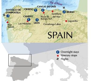 Northern Spain Alumni Adventure, Itinerary map