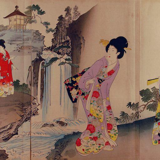 Toyohara Chikanobu: Viewing the Waterfall