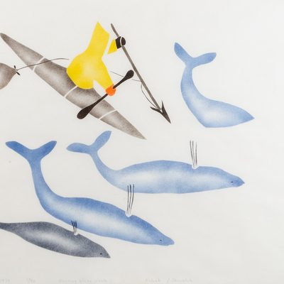 Illustration of a person in a kayak attempting to spear small whales