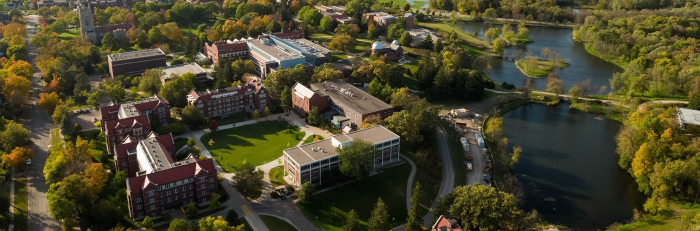 Aerial view of the Carleton College campus, showing the Lyman Lakes
