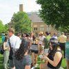 Majors & faculty visiting over treats