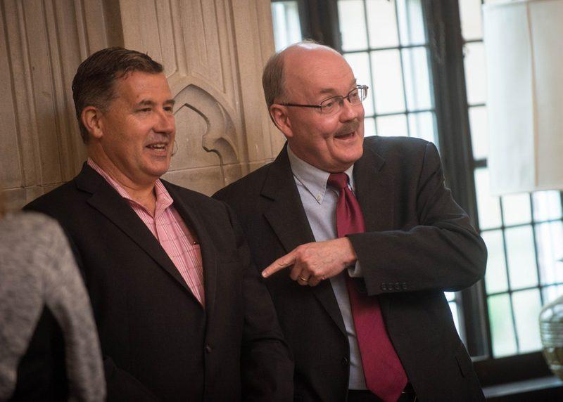Mike Alvarez '86 and Steven Schier