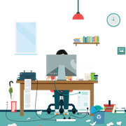 Person working in a home office