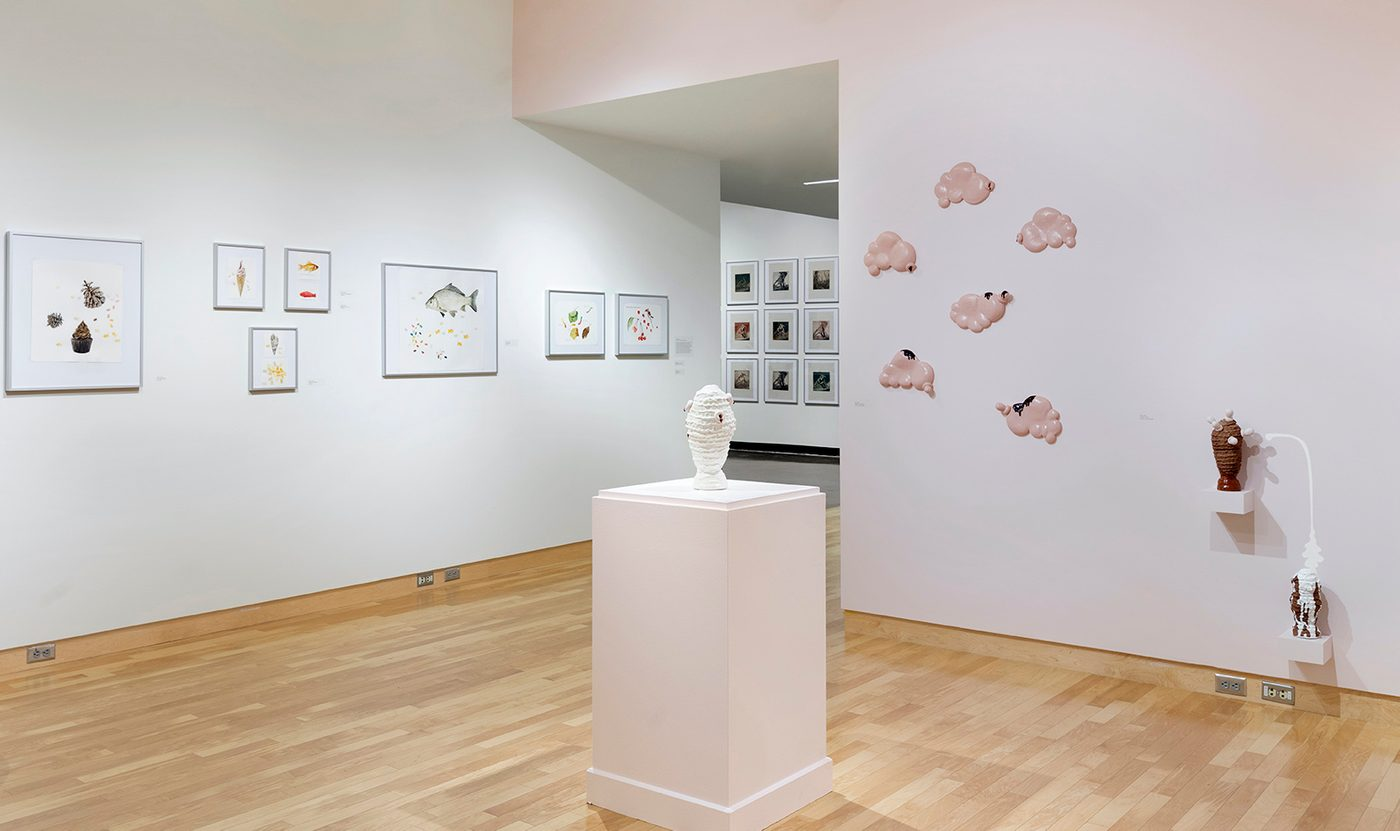 Museum gallery with artworks