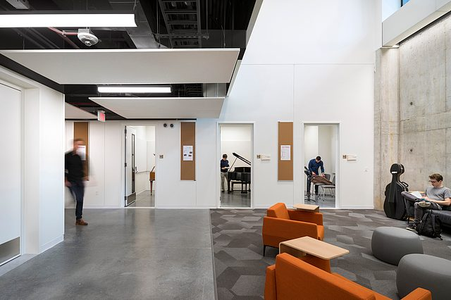 Rehearsal rooms in the Music and Performance Commons  at the Weitz Center for Creativity