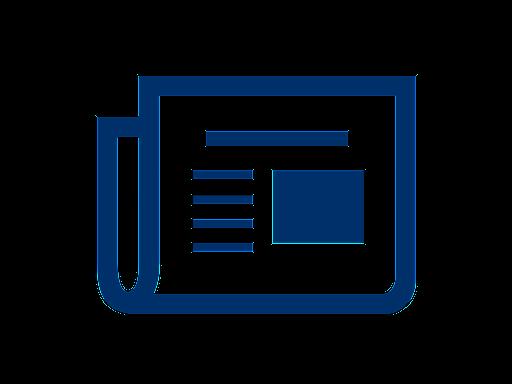 folded blue newspaper icon