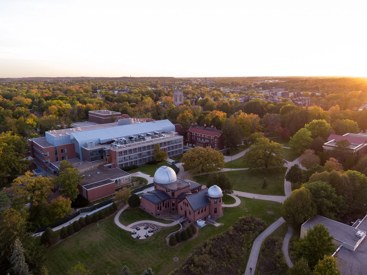 aerial view of Goodsell Observatory in the fall