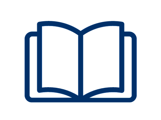 blue open book icon on a white background