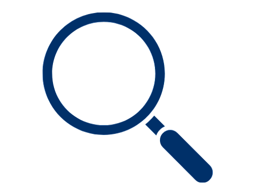 blue magnifying glass icon on a white background