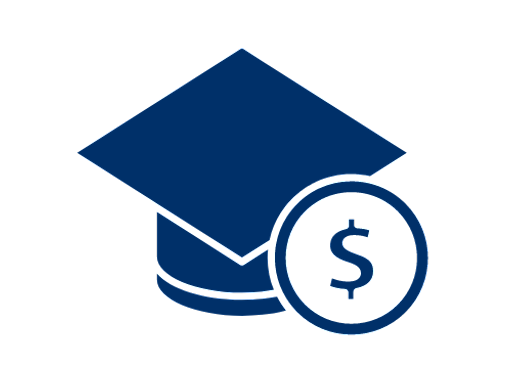 blue graduation cap icon with a dollar sign within a circle in front of it