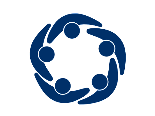 aerial view of group of five people silhouettes interlocked to form a circle