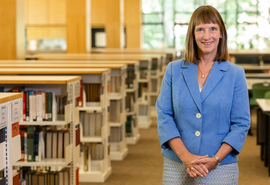 President Byerly in Gould Library