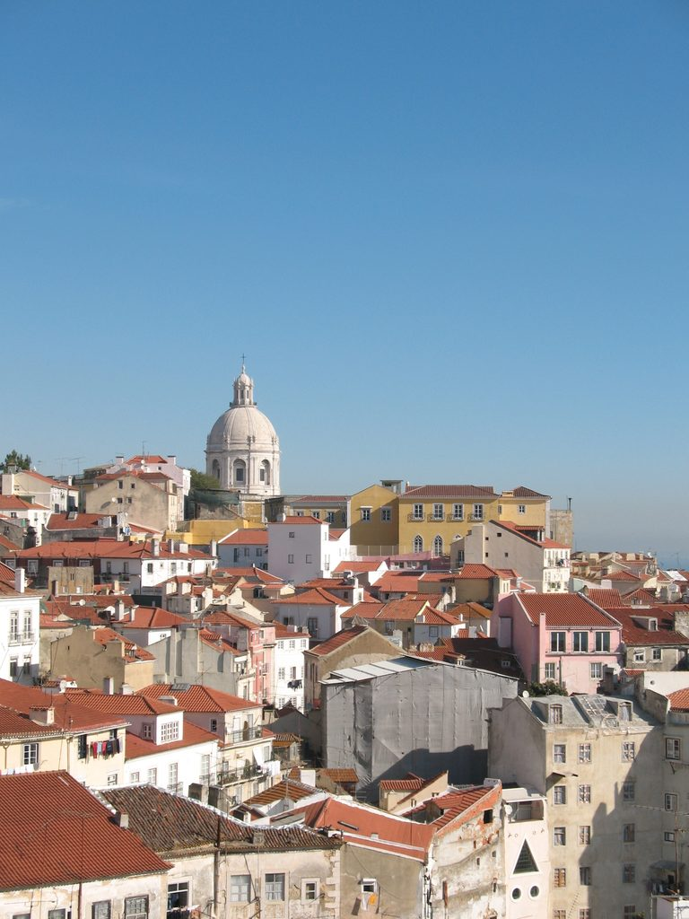 Rooftops and the dome of the Church of Santa Engrácia in Lisbon, Portugal