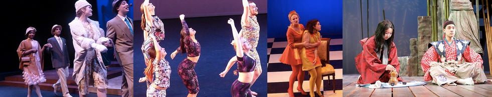 A strip of four photos showing the costumes available