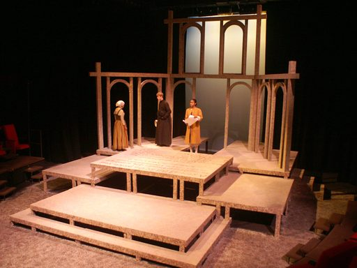 Actors practicing on an unfinished set