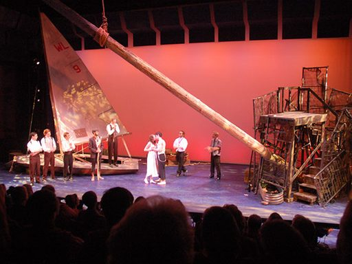 Actors on stage during the production of The Tempest