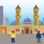 illustration of people looking at a mosque in a city
