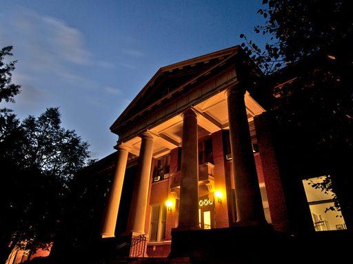 Laird Hall at night