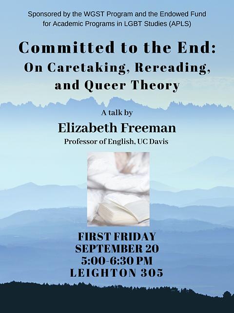 Poster for Elizabeth Freeman talk