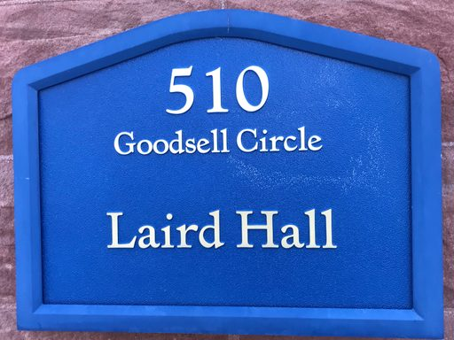 Sign in front of Laird Hall