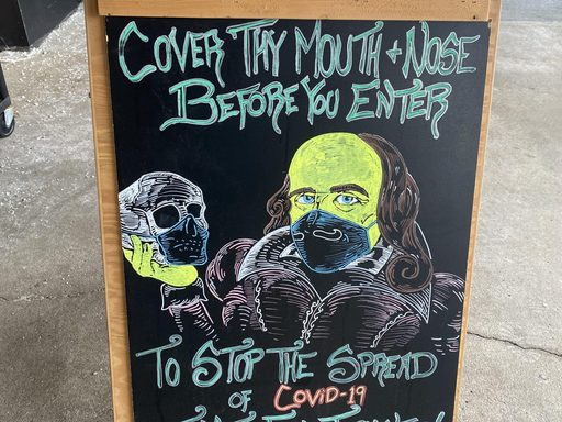 Shakespeare COVID sign