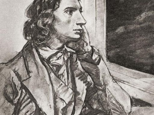 drawing of John Keats, looking out the window, looking attractive